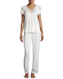 Luxe Jersey Knit Short-Sleeve Pajama Set, Champagne