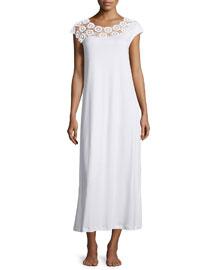 Eva Lace-Trim Long Gown, White