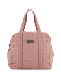 Quilted Tech-Fabric Essential Gym Bag, Salmon