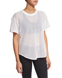Short-Sleeve Mesh Athletic Tee, White