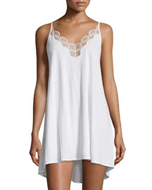 Tranquility Lace-Trim Chemise, White