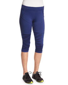 Studio Zebra-Print Cropped Sport Leggings, Dark Blue