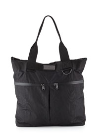 Moire-Print Big Sports Bag, Black