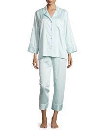 Cotton Sateen Pajama Set W/Piping, Starlight Blue