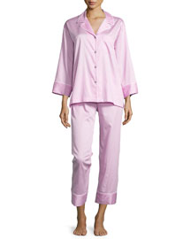 Cotton Sateen Pajama Set W/Piping, Tea Rose