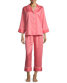 Solid Two-Piece Pajama Set, Daiquiri Pink