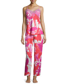 Lucent Palms-Print Lace-Trimmed Pajama Set, Duchess Rose