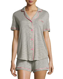 Bella Short-Sleeve Feed-Striped Pajama Set, Heather Gray/Pink