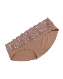 Undie-Tectable� Lace-Trimmed Briefs, Mineral Taupe
