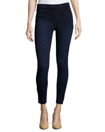 Cropped Denim Knit Leggings, Dark Indigo