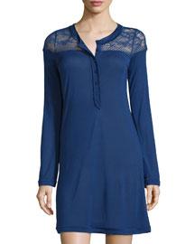 Myrta Long-Sleeve Sleepshirt W/Lace