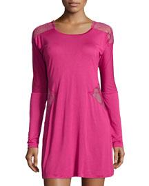 Iris Lace-Panel Sleepshirt, Iris Pink