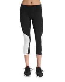 Colorblock Cycling Capri Pants, White/Black