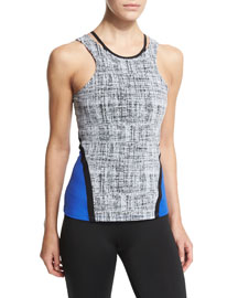 Exerciser Colorblock Tank Top, Chalk/Cobalt/Black