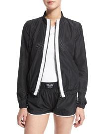 Mesh Training Jacket W/Contrast Stripe, Black/White