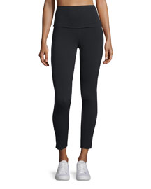 Raw-Edge Sport Leggings, Black
