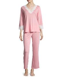 Lhasa 3/4-Sleeve Lace Pajama Set