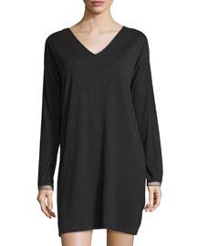 Aria Ribbed V-Neck Sleepshirt, Black