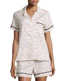 Ticker Tape Short Poplin Pajama Set