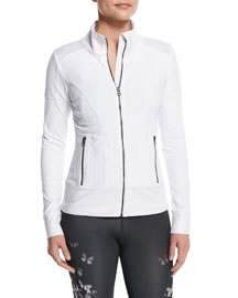 Full-Zip Moto Sport Jacket, White/Glossy