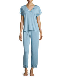 Zen Floral-Lace Inset Two-Piece Pajama Set, Sailor Blue