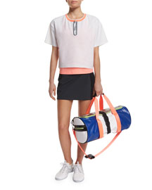 Perforated Boxy Short-Sleeve Sport Tee, White