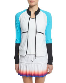 Featherweight Colorblock Zip-Up Sport Jacket, White