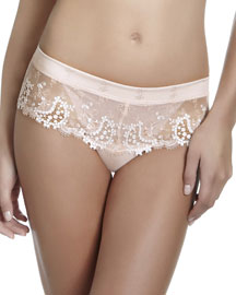 Wish Floral-Lace Boyshorts, Blush