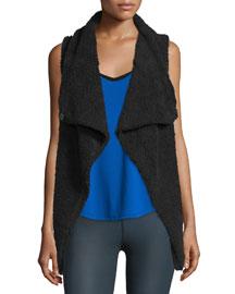 Cozy Up Draped Sport Vest, Black