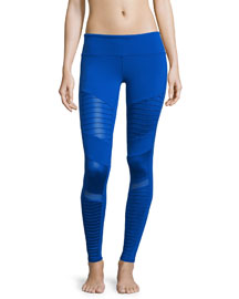 High-Waist Moto Sport Leggings with Mesh Panels, Blue