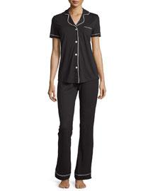Bella Short-Sleeve Pajama Set W/Piping, Black/Ivory