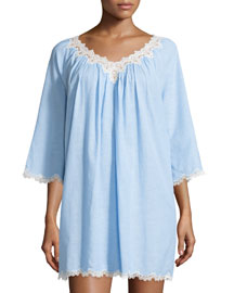 Cross-Dyed Short Gown with Lace-Trim