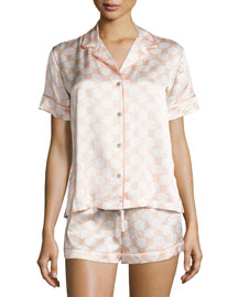 Geo-Print Shortie Pajama Set, Ivory/Blush Geo