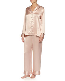 Jasmine Long Silk Pajama Set, Rose