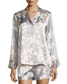 Azalea Printed Shorty Pajama Set, Grey Floral