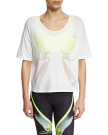 Birds Of Paradise Graphic Short-Sleeve Top, White
