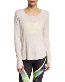 Lotus Strappy-Back Long-Sleeve Fleece Top