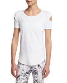 Kinney Short-Sleeve Cutout Sport Top, White