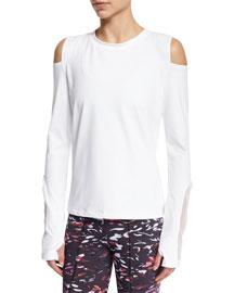 Rennie Cold-Shoulder Sport Sweater, White