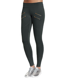 Sofia Zip-Detail Sport Leggings, Gray
