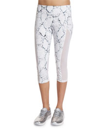 Vincent Python-Printed Cropped Sport Leggings
