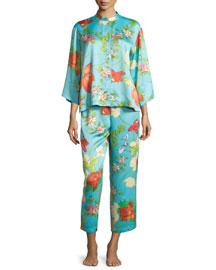 Peranakan Floral-Print Satin Pajama Set