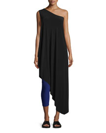 One-Shoulder Diagonal Tunic Top, Black