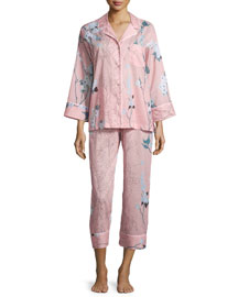 Sakura Printed Two-Piece Pajama Set