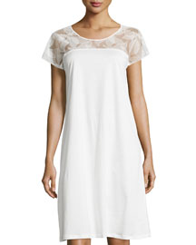 Yolanda Lace Cap-Sleeve Gown, White
