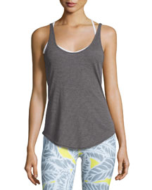 Sculpt Cutout-Back Ribbed Tank, Dark Heather Gray