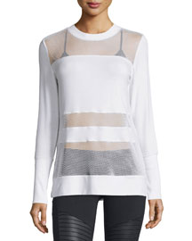 Plank Mesh-Panel Long-Sleeve Top, White