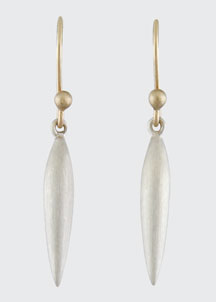 Small Brushed Silver Rice Earrings