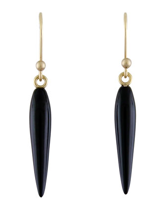 Small Black Onyx Rice Earrings