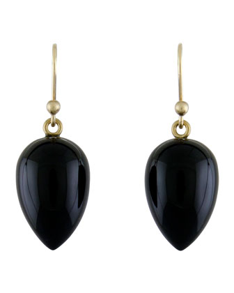 Black Onyx Acorn Earrings